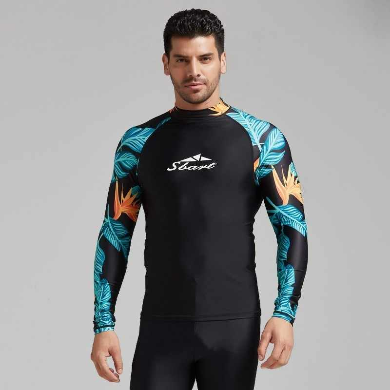 الأزهار طفح الحرس الرجال ليكرا تصفح Rashguard طويلة الأكمام ملابس السباحة السباحة قميص UV T قميص للسباحة الإبحار الغوص الرياضة الملابس