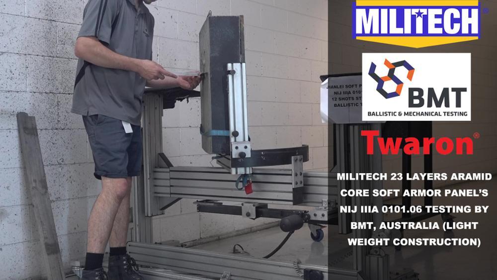 Test Video--Militech NIJ IIIA 0101.06 23 Layers Aramid Soft Panel Testing Video