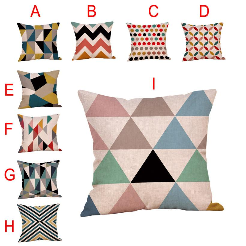 2018 NEW FASHION Geometric Printed Cotton Linen Throw Pillow Cases Sofa Cushion Cover Home Decor W0709
