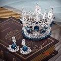 Redonda pequena mantanan coroa de cristal com festa de casamento brincos de vidro com pérolas de alta qualidade estilo rainha tiara cabelo conivente