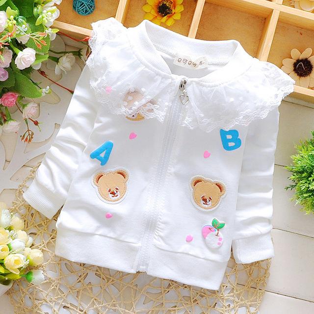 Primavera de algodão do bebê meninas cardigan casaco Dos Desenhos Animados flores de Renda dot Olá blusas casaco cardigan crianças roupas de marca das Crianças