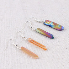 Electroplated Druzy Stone Resin White Colorful Crystal Earring Column Earrings Female Gift