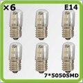 Atacado 120 V 220 V 230 V E14 1 W 7 * 5050SMD led mini lâmpadas de geladeira bombilla LED blanco para a caixa de gelo do congelador máquina de costura