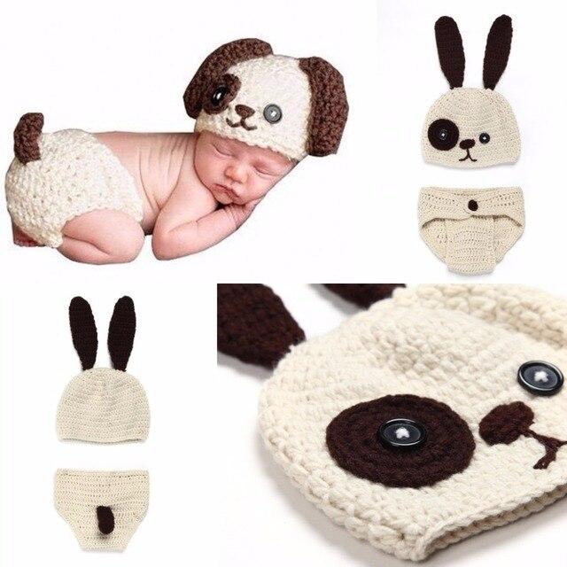 Los recién nacidos accesorios de fotografía prop perro set Crochet ...