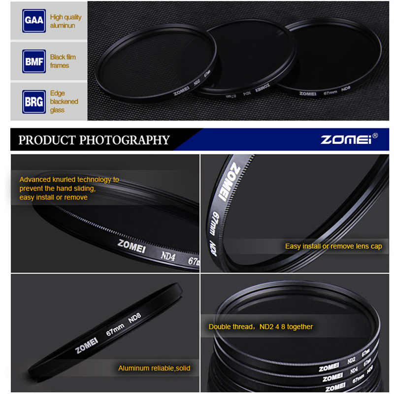Zomei Slim Neutral Density Filter ND8 ND 2/4 8 52mm 55mm 62mm 67mm 72mm 72 nd filter 77mm for Canon Sony Pentax Dslr Camera Lens 3