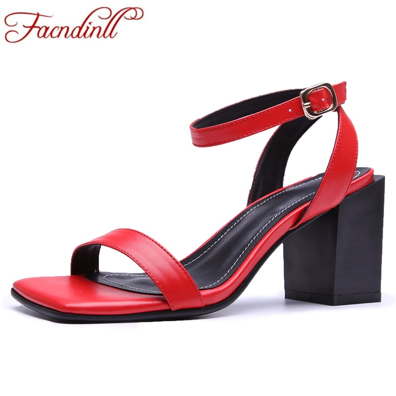 FACNDINLL hot genuine leather women red sandals 2018 new fashion sexy high heels open toe shoes woman dress party ladies sandals facndinll new women sandals genuine