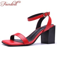FACNDINLL Hot Genuine Leather Women Red Sandals 2018 New Fashion Sexy High Heels Open Toe Shoes