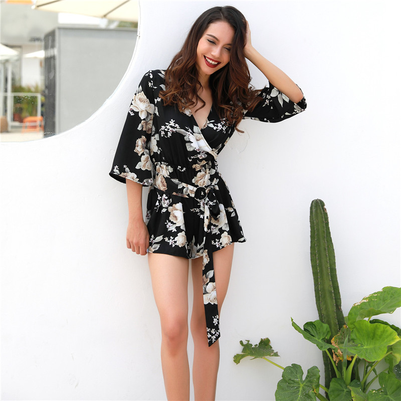 Floral Print Playsuits Women Elegant 2018 Summer Black Half Sleeve Rompers Sexy Beach Girls Short Jumpsuits
