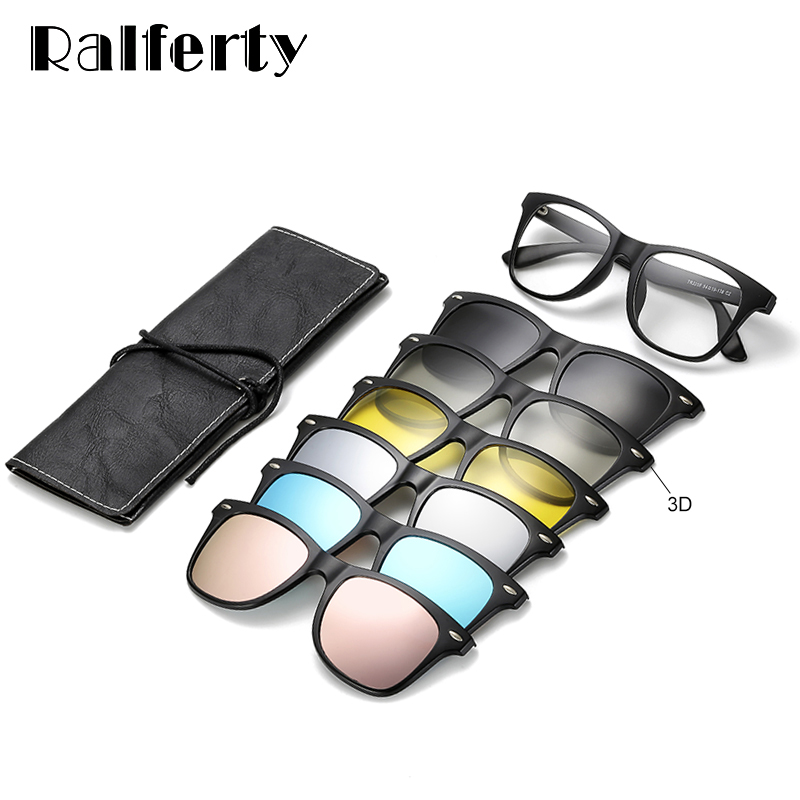 Ralferty Magnetic Sunglasses Women Clip On Sunglass Men Polarized UV400 High Quality TR90 3D Night Vision Prescription Glasses