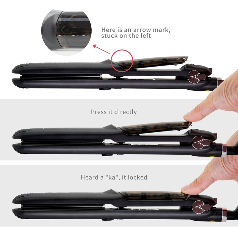 CHJ Steam Hair Straightener Ceramic Flat Iron Vapor Plate Wet/Dry Straightening Iron Ferro Hair Iron Steamer Styling Tool 9