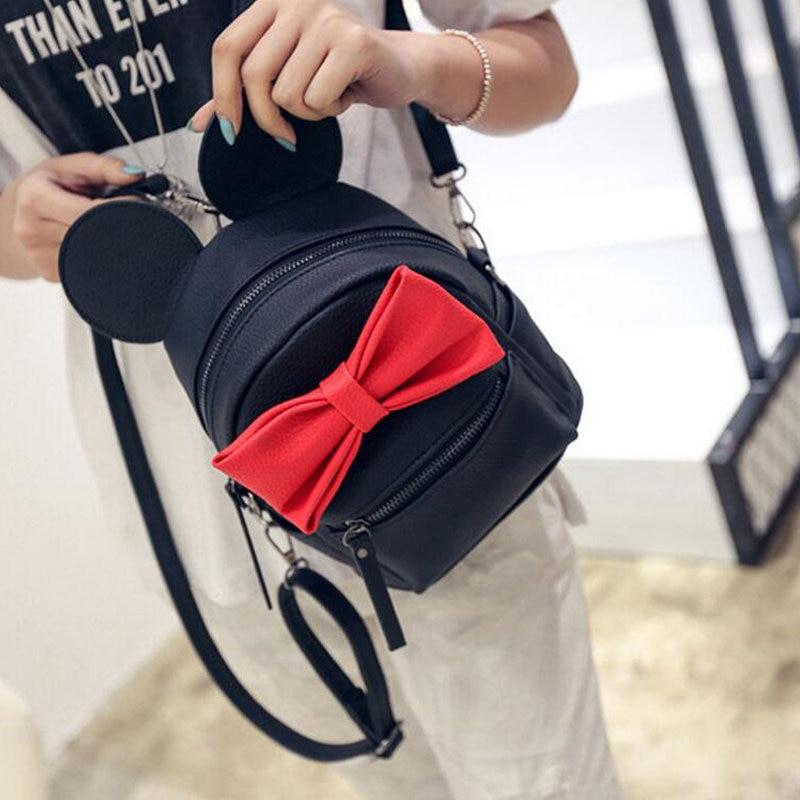 32f3a97326a7 Hot 2017 PU Leather Women Korean Style Mouse Ears Bow Shoulder Bag College  Girls School Bags Mini Travel backpacks Mochila Li489-in Backpacks from  Luggage   ...