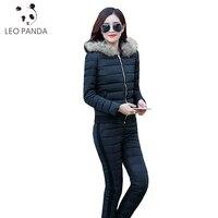 2017 Women Winter Warm Fashion Padded Hoodie Suit Slim 2 Piece Sets Top Pant Female Faux