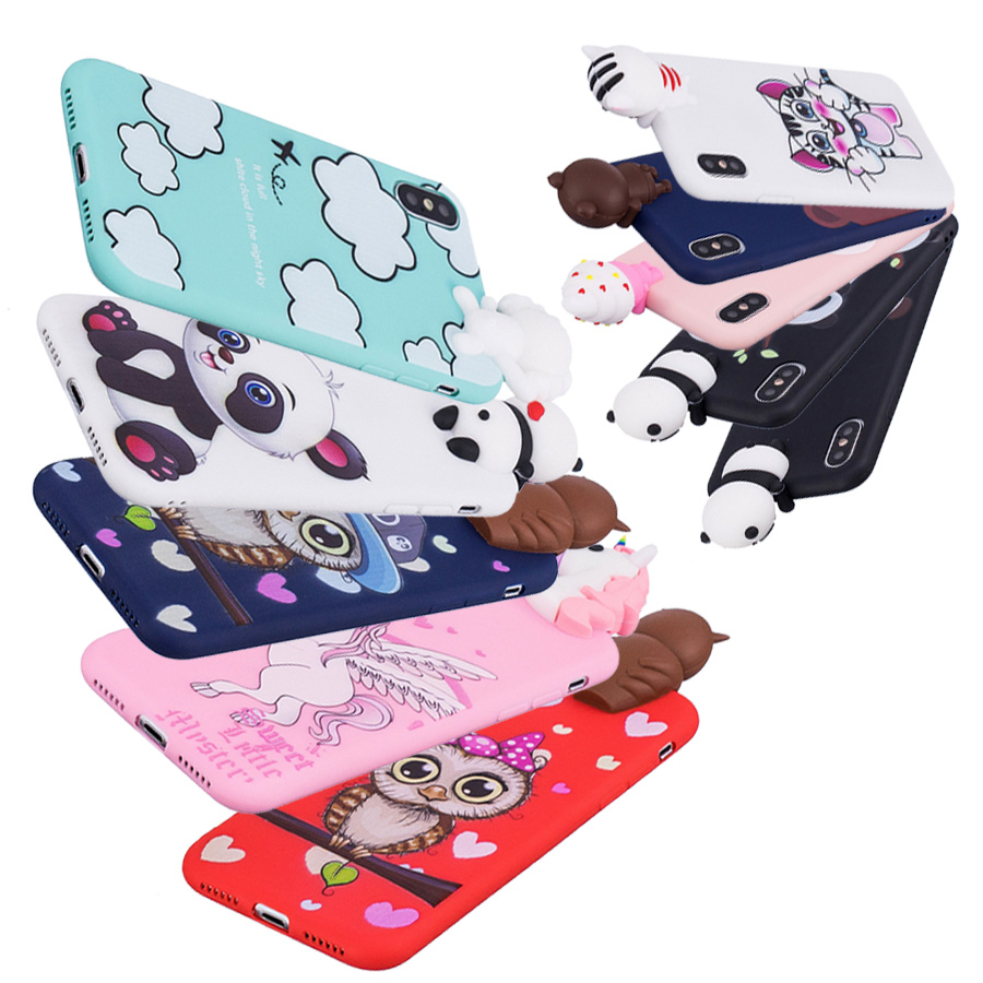 <font><b>3D</b></font> Cute <font><b>Cartoon</b></font> Panda Owl Unicorn phone Case For iphoneX 6 Plus 7 6s 8 Plus 5 Soft Silicon Cover coque <font><b>funda</b></font> For <font><b>iphone</b></font> <font><b>5s</b></font> case image