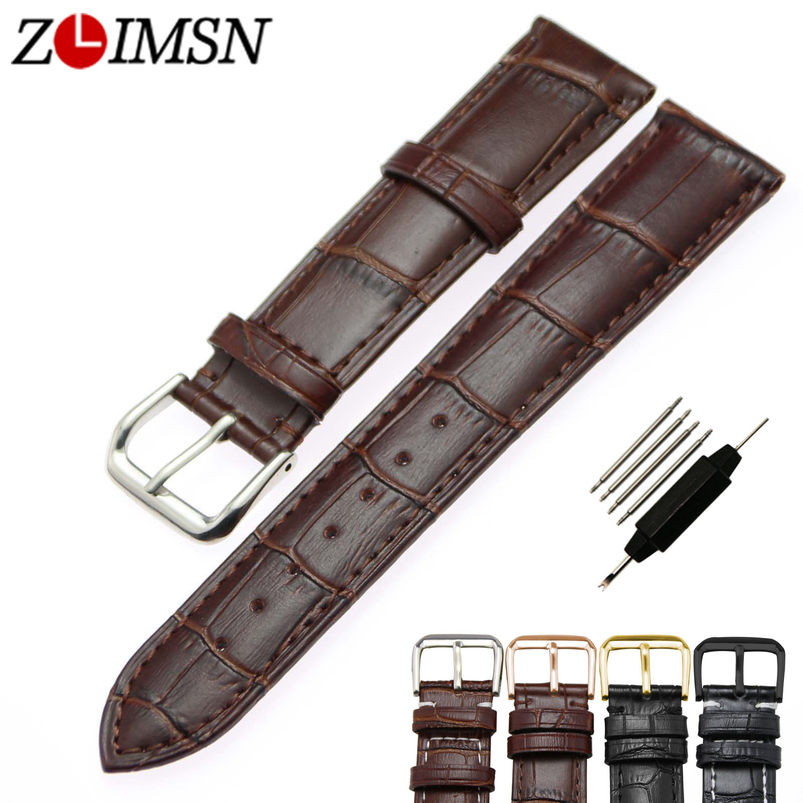 ZLIMSN Genuine Leather Watch Strap 18 19 20 21 22 23 24mm Black Brown Watchbands Stainless Steel Buckle Rose Silver Polished zlimsn high quality thick genuine leather watchbands 20 22 24 26mm brown watch strap 316l brushed silver stainless steel buckle