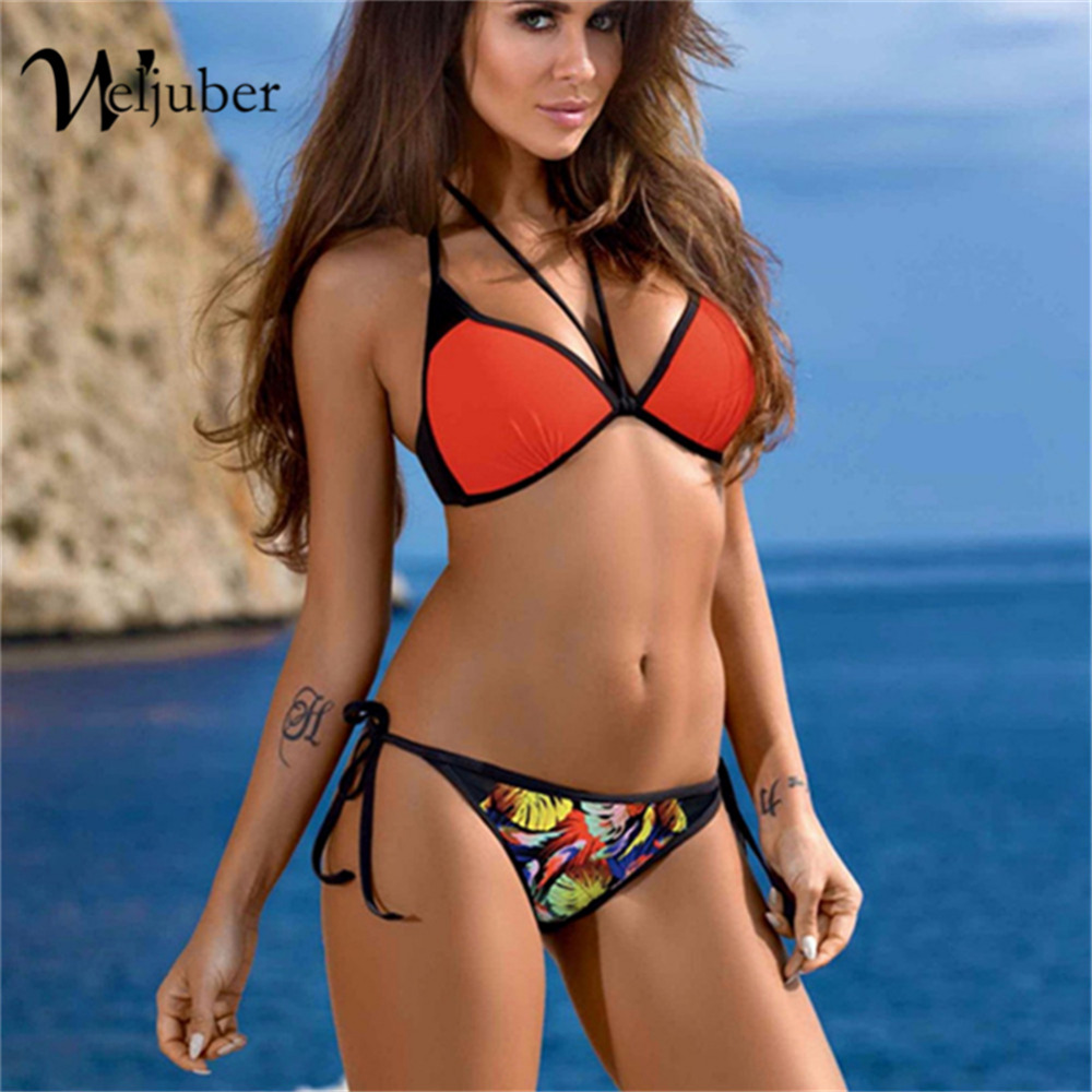 Weljuber 2018 Women Bandage Bikini Gather Swimwear Sexy Low Waist Padded Bikini Set New Brazilian Biquini Push Up Swimsuit new cute girls sexy bikini women swimwear push up bra biquini low waist mini skirt bottom agate jewelry bikini set swimsuit