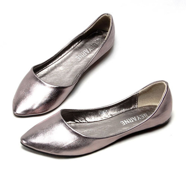 Fashion Metallic Pu Pointed Toe Women Flats Concise Shallow Mouth Slip-on Flats For Women Ladies Casual Flat Ballerinas Shoes