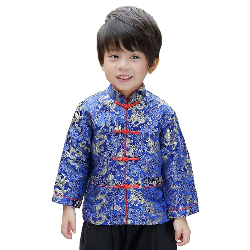 fdcf7f09cb US $14.51 7% OFF|2019 Chinese New Year Festival Children Jacket Boys Tang  Clothes Costumes Baby Boy Coat Red Navy Dragon Outfits Yellow Outerwear-in  ...