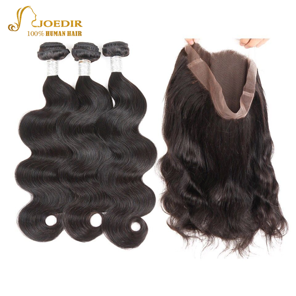 Joedir Pre-Colored 360 Lace Frontal With Bundle Brazilian Body Wave - Human Hair (For Black)