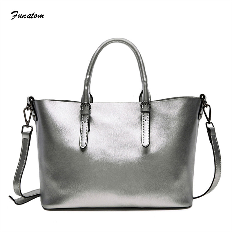 Funatom Brand Real Leather Handbags Ladies Genuine Leather Tote Hand Bags Female Designer Shopper Shoulder Bags For Women 2018