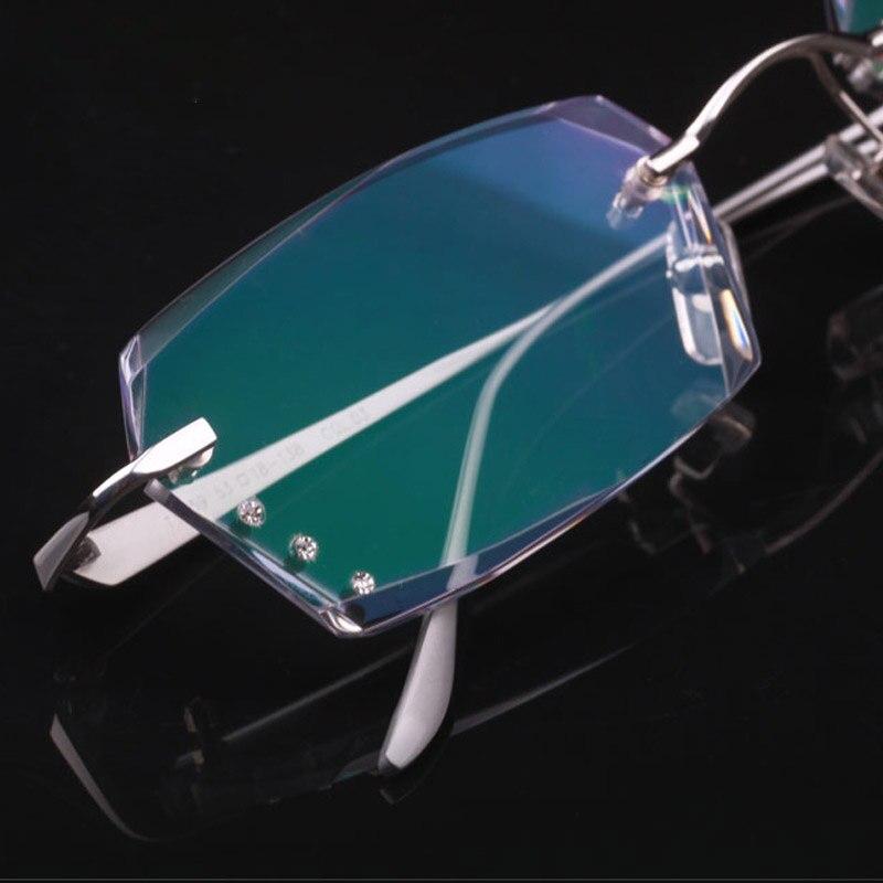2017 Optical occhiali da vista uomo occhiali Di Lusso di marca disegno di Corrispondenza miopia Diamante taglio lenti senza montatura occhiali da lettura contro la stanchezza