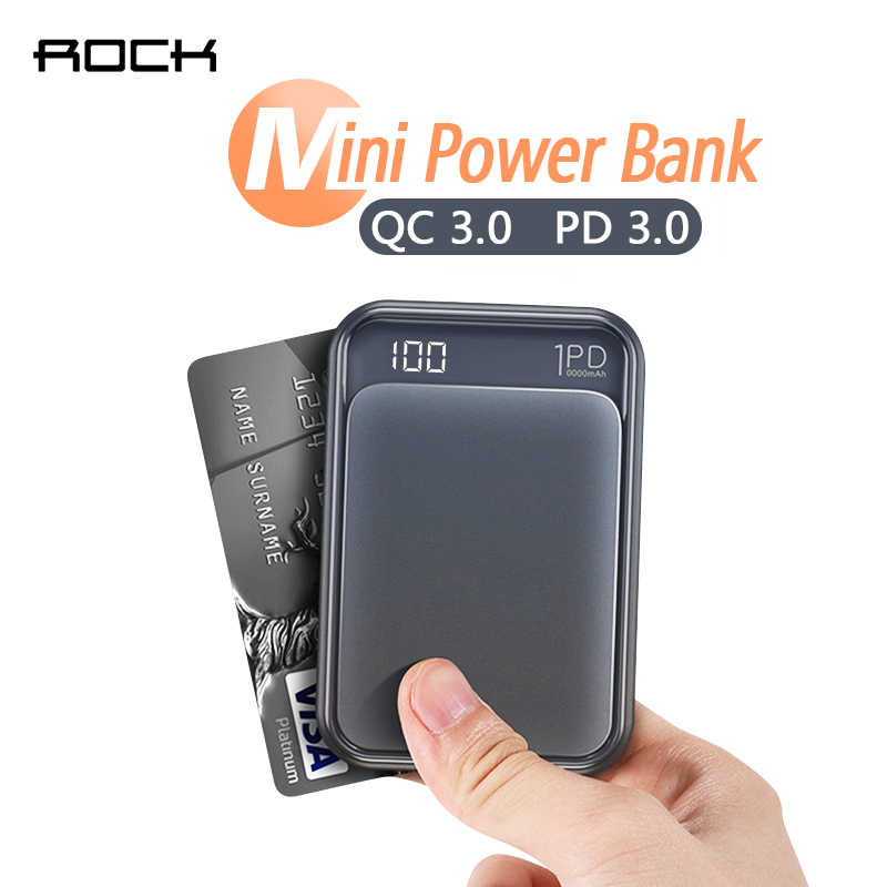 ROCK 18W Type C PD QC 3.0 Power Bank 10000mah Mini External Battery LED Displa USB Quick Fast Charging Powerbank For iphone XS