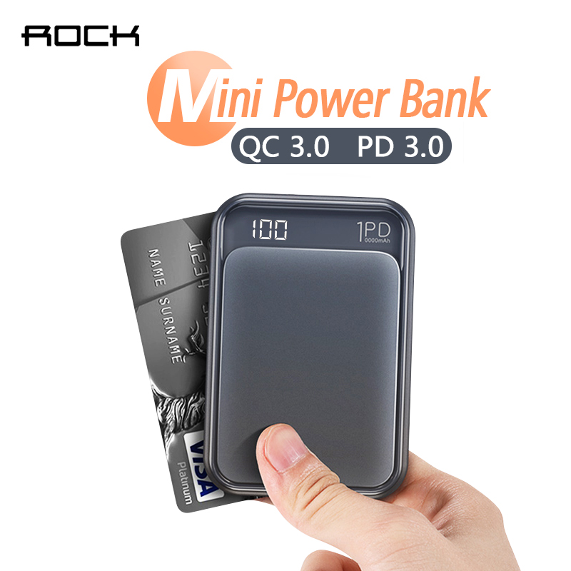 ROCK 18W Type C PD QC 3.0 Power Bank 10000mah Mini External Battery LED Display USB Quick Fast Charging Powerbank For iphone XS