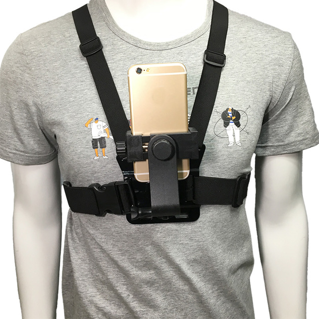Mobile Phone Chest Mount Harness Strap Holder Cell Phone Clip action
