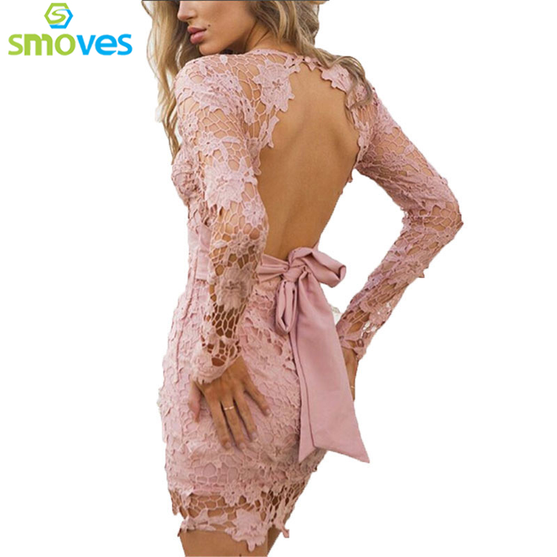 Smoves Lace Floral Crochet Hollow Out Deep V Backless Bow Spring Summer Women Pencil Dress Long