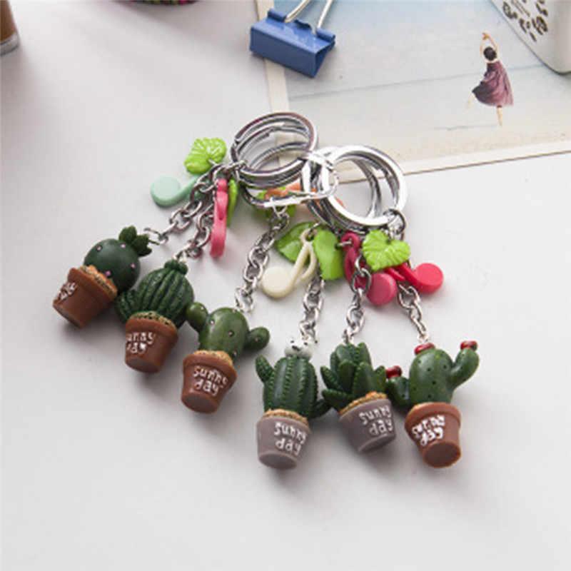 1 pc Cor aleatória Resina Cactus planta Simulação keychain Bonito chaveiro pingente Encanto de Telefone Celular na Alça da Mala Decoração planta Verde