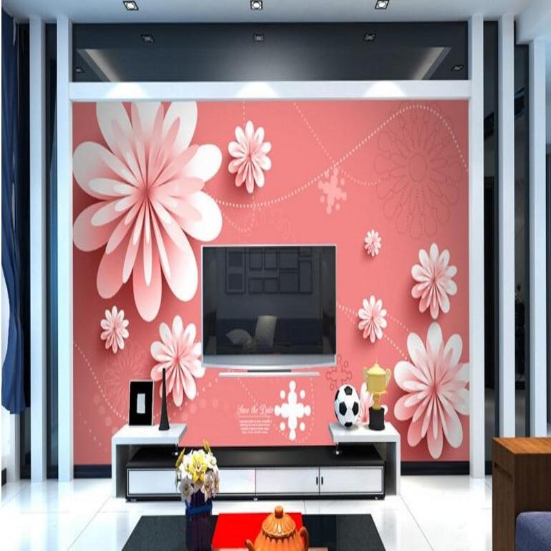 beibehang Large custom wallpaper 3d 3d flower modern simple living ...