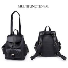 Women Drawstring Leather Vintage Backpack Female School Bag New Backpacks Brand Shoulder Bags For Teenage Girls Rucksack