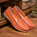 Spring Summer Genuine Leather Women Flat Nude shoes Plus size Circular hole Breathable Loafers White Orange and Black colors