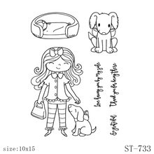 ZhuoAng Girl and puppy Transparent  Stamp/Seal for DIY Scrapbooking/Photo Album Decorative Card Making Clear Stamps Supplies