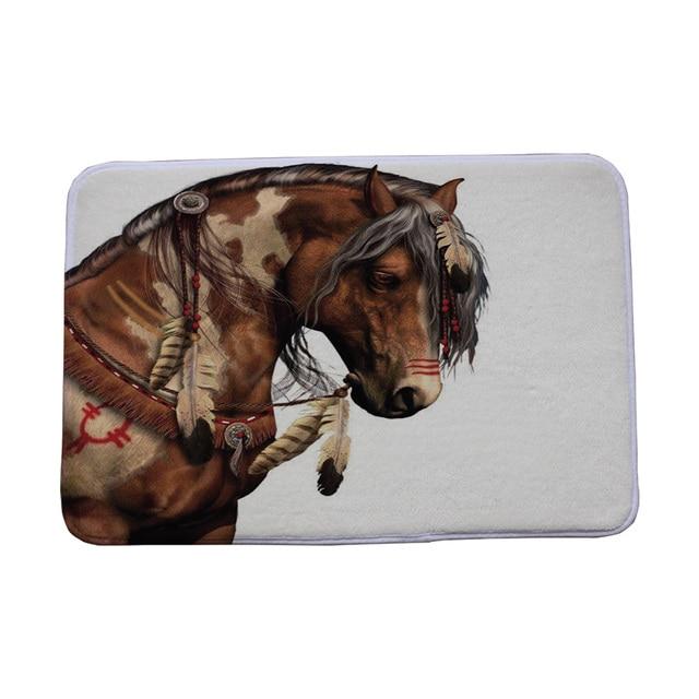 Rectangle Horse Printed  Hallway Carpets Bath Floor Mat Animals Front Door Mats