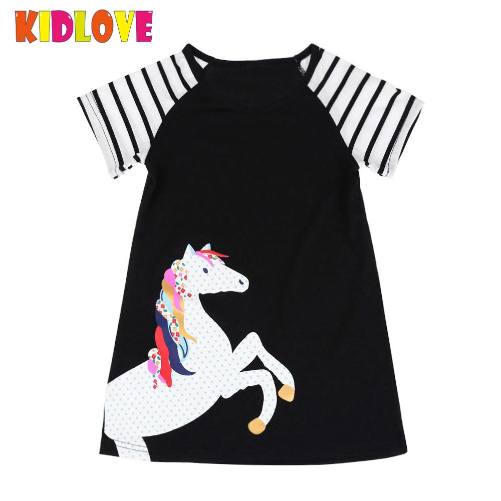 KIDLOVE Girls Dress Cartoon Horse Princess Printed Stripe Splicing Dress Sleeve A-shape Dress 2018 Summer Children Clothes