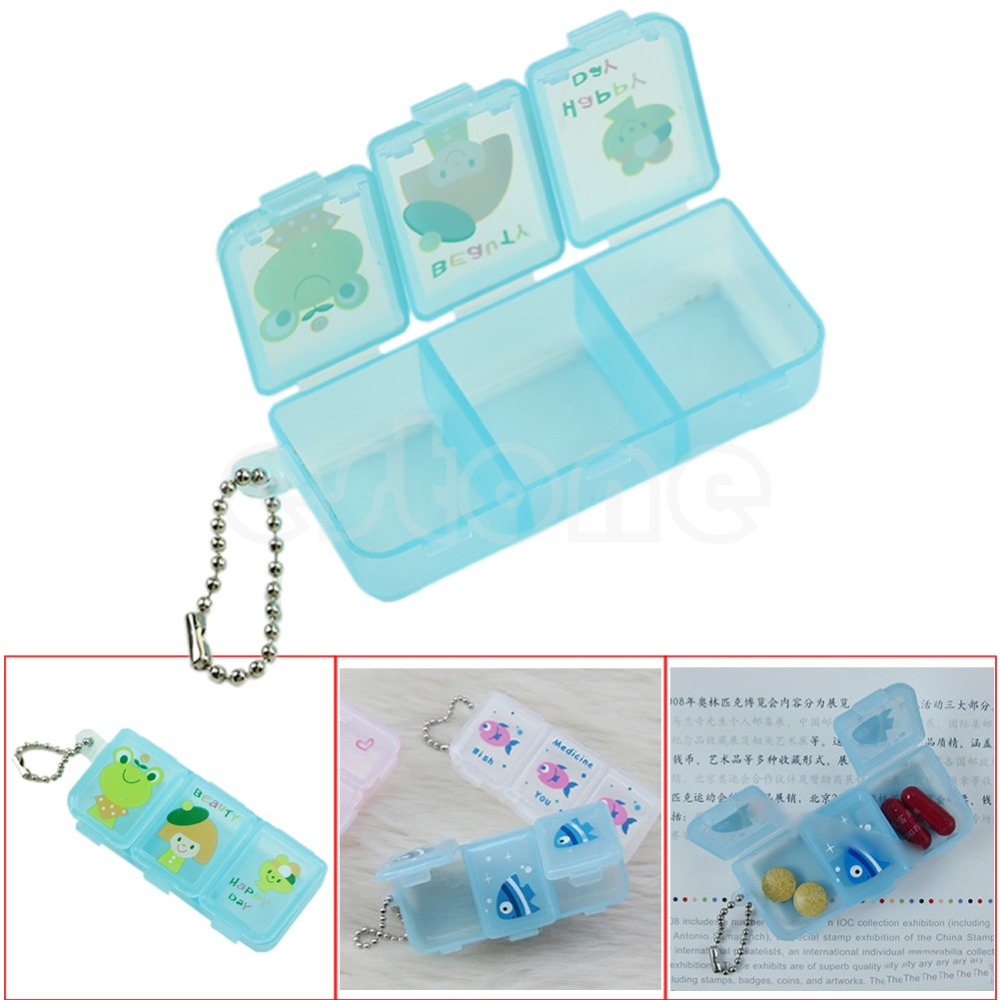 On Sale Travel 3 Compartment Pill Box Medicine Tablet Holder Organizer Dispenser Case image