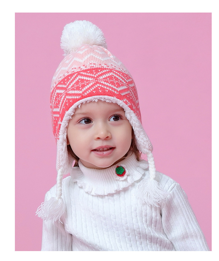 bd5dfe1891e Winter Hat Thickening Warm Baby Knitted Hat Printing Ear Flap Hats ...