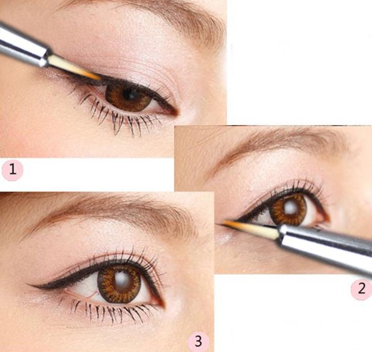 Hot Sale Fashionable Waterproof Hot Beauty Eye Thin Liner Eyeliner Shadow Gel Brand Makeup Cosmetic Brush