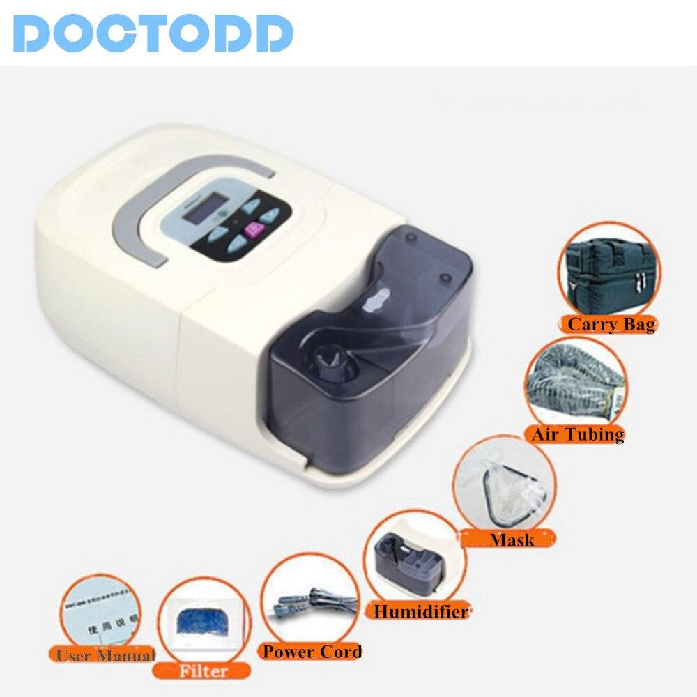 Doctodd Портативный CPAP машины респиратор для апноэ сна OSAHS СОАС храпа люди W/носа маски, головные уборы труба сумка Бесплатная доставка