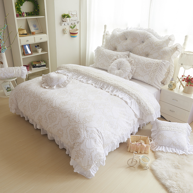 Korea Style Beige White Bedding Sets 4/9pcs Fleece Jacquard Winter Full Queen King Duvet Cover+Bedskirt+pillowcases Girl Bed Set