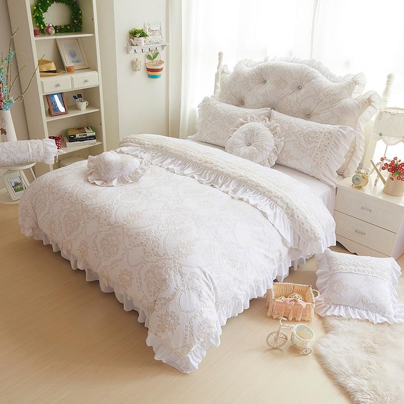 Korea style beige white bedding sets 4 9pcs fleece