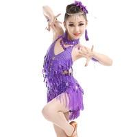 2018 Children Children S Latin Dance Costumes Girls Latin Dance Costume Contest New Sequined Fringed Skirt