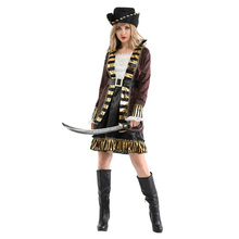 Fantasia Adult Women Pirates of the Caribbean Captain Costumes Dress Outfits Halloween Purim Party Carnival Cosplay