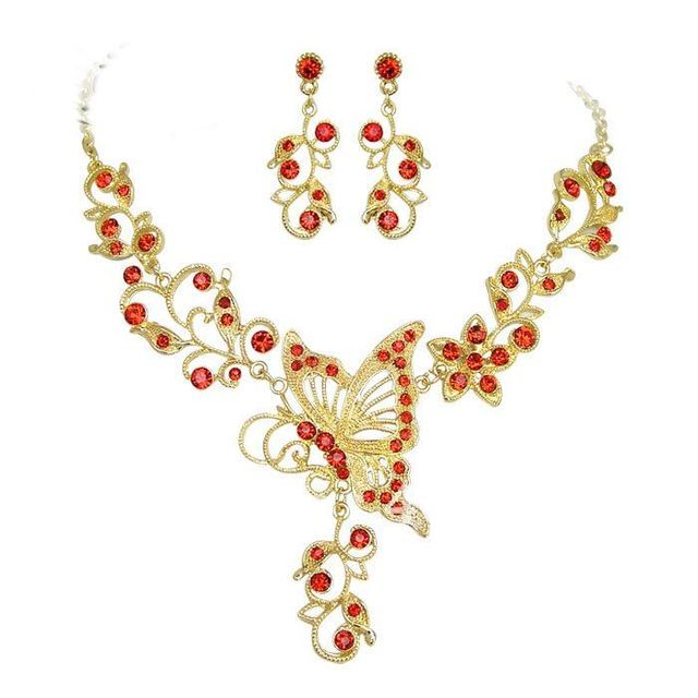 Wedding jewelry set super shine butterfly crystal  necklace+earring