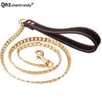 128cm Gold Stainless Steel Dog Slip Collar Cuban Chain Dog Training Choke Collar Strong Traction Practical NK Chain Necklace