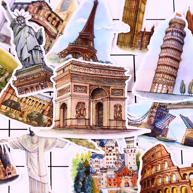 15 PCS Vintage Diary European Architecture Scrapbooking Stickers Decorative Sticker DIY Craft Photo Albums