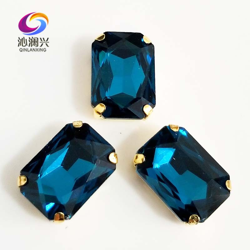 Peacock blue Rectangle shape Glass Crystal sew on stones,golden bottom claw rhinstone,DiyClothing accessories SWCG13