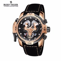 Reef Tiger Mens Watches with Complicated Dial Rose Gold Case Automatic Military Sport Watch with Rubber Strap Relogio Masculino 1