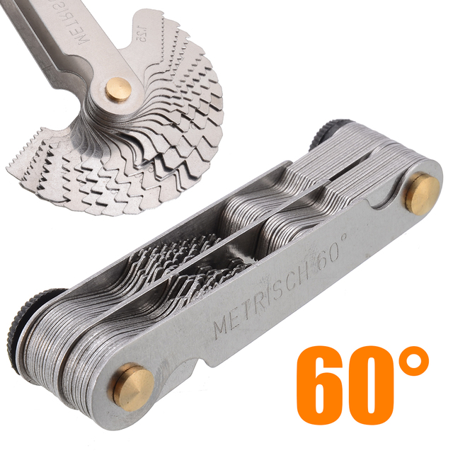 New 60 And 50 Degree Whitworth Metric Screw Thread Pitch Gauge Blade Gage For Measuring Tool