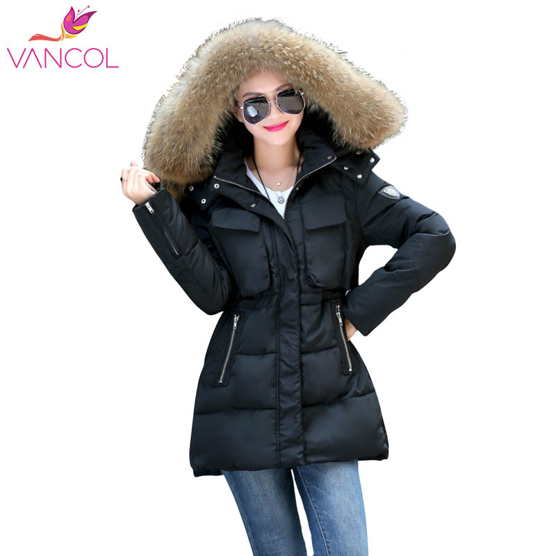 Vancol 2016 Winter Parka Women Wadded Fur Collar Cotton Long Girls Thicken Padded Slim Korean Plus Size Hooded Coat Jacket winter cotton outerwear women super fur hooded wadded jacket female medium long padded coat thicken slim parka plus size
